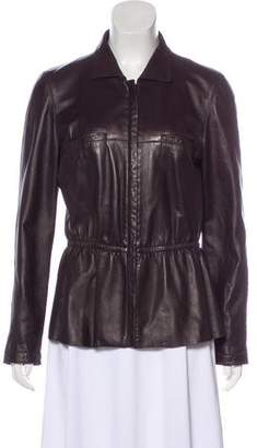 Armani Collezioni Peplum Leather Jacket