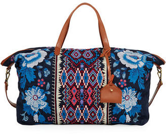 Johnny Was Dexter Embroidered Canvas Weekend Bag $245 thestylecure.com