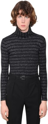 Saint Laurent Lurex Wool Blend Turtleneck Sweater