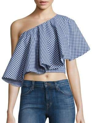 Yakura Flouncy Gingham One Shoulder Cropped Top
