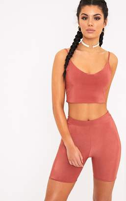 PrettyLittleThing Bella Spice Slinky Cami Crop Top