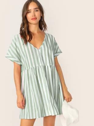 Shein Keyhole Back Striped Smock Dress