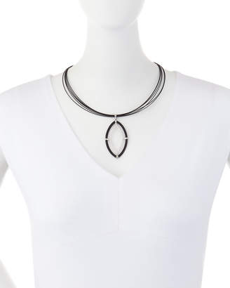 Alor Noir Cable & Diamond Marquise Pendant Necklace
