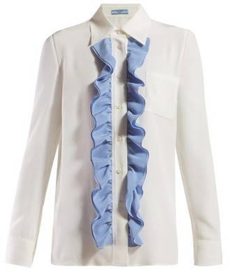 Prada Ruffle Trimmed Silk Blouse - Womens - Ivory Multi