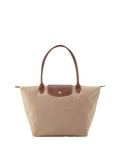 Longchamp Le Pliage Large Shoulder Tote Bag, Beige