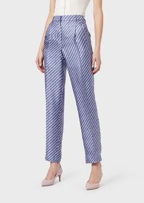 Giorgio Armani Trousers In Printed Silk Twill