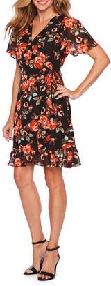 SHARAGANO Sharagano Short Sleeve Floral Wrap Dress