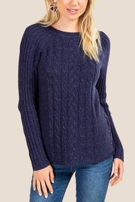 francesca's Lucy Lace Up Sweater - Navy