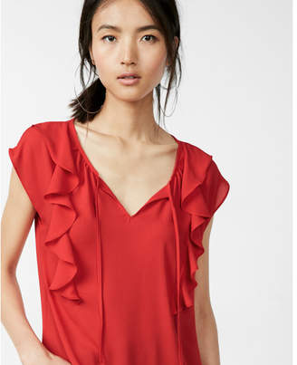 Express tie neck ruffle front cap sleeve blouse