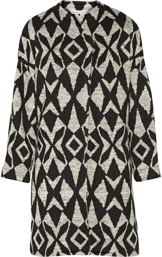 Alice + OliviaAlice + Olivia Alice + Olivia Emett printed stretch-knit cocoon coat