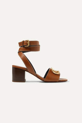 Valentino Garavani Go Logo 60 Embellished Textured-leather Sandals - Brown