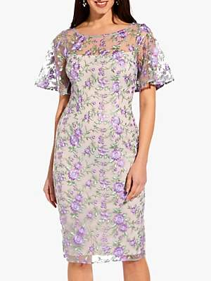 Adrianna Papell Winding Blooms Dress, Purple