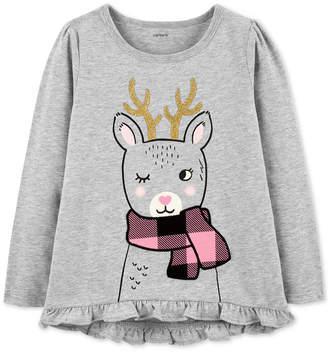 Carter's Toddler Girls Reindeer-Print Cotton T-Shirt