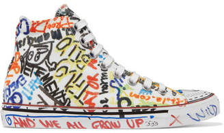 Vetements Printed Canvas High-top Sneakers - White