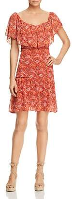 Rebecca Minkoff Lynne Shoulder-Detachable Ruffle Floral-Print Dress