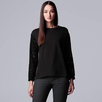 Vera Wang Women's Simply Vera Open-Work Crewneck Sweatshirt