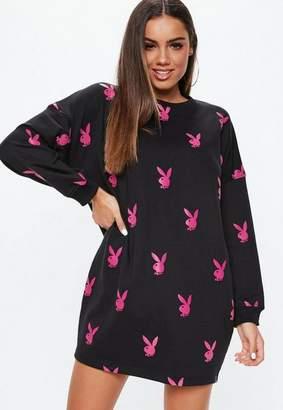Missguided Playboy X Black Repeat Print Long Sleeve T-Shirt Dress