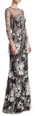David Meister Floral Long-Sleeve Sheer Gown