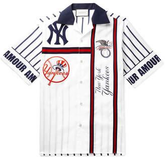 Gucci + New York Yankees Camp-Collar Appliqued Striped Cotton-Poplin Shirt