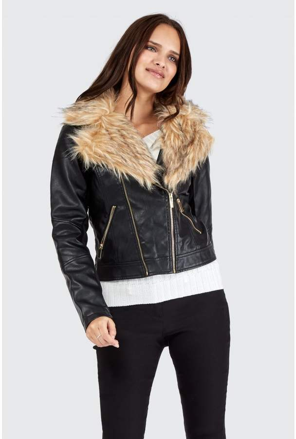 Women's Double Zip Fur Collar Pu Biker