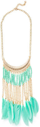 Cara Couture Jewelry Beaded Feather Fringe Statement Necklace