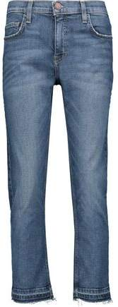High-Rise Frayed Cropped Straight-Leg Jeans