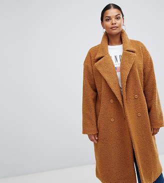 Missguided Plus exclusive plus longline borg coat in brown