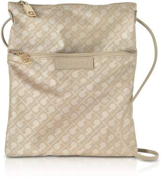 Gherardini Clay Signature Fabric and Leather Softy Crossbody Bag w/Zip Front Pocket