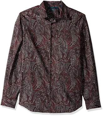 Perry Ellis Men's Long Sleeve Multicolor Paisley Print Shirt