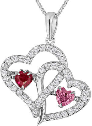 FINE JEWELRY Love In Motion Lab-Created Ruby, Pink & White Sapphire Sterling Silver Double Heart Pendant Necklace