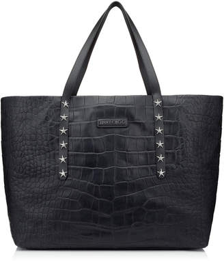 Jimmy Choo PIMLICO Navy Crocodile Embossed Satin Leather Tote Bag with Star Trim