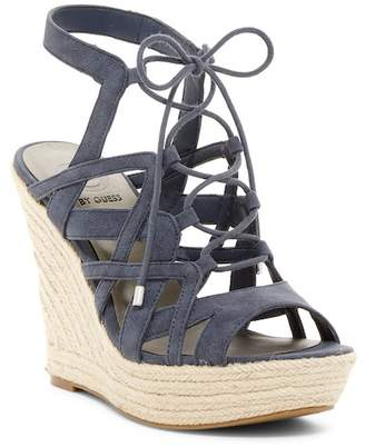 G by GUESS Dritta Lace-Up Wedge Sandal $69 thestylecure.com