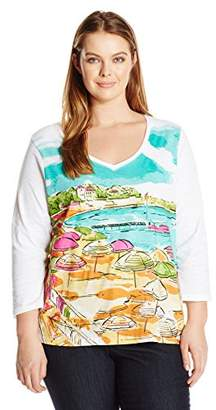 Caribbean Joe Women's Plus Size Long Sleeve Printed Slub Crewneck