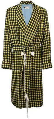 Marni long check coat