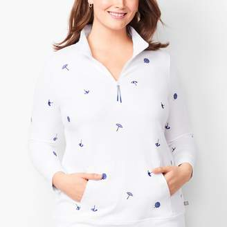 Talbots Embroidered-Umbrella Terry Half-Zip Pullover