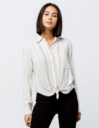 Sky And Sparrow Stripe Button Tie Front White & Khaki Womens Top