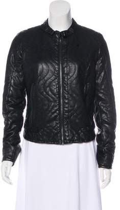 G Star Quilted Leather Jacket