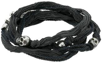 King Baby Studio - Multi Wrap Charcoal Silk Bracelet with Skulls  Bracelet $280 thestylecure.com