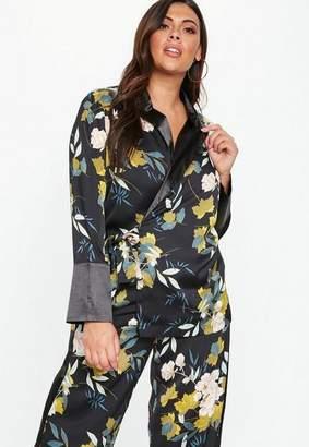 Missguided Plus Size Floral Contrast Collar Tie Waist Blazer