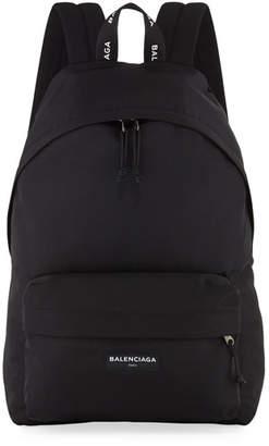 Balenciaga Men's Solid Canvas Backpack, Black/White