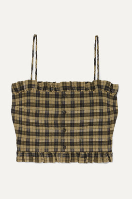 Ganni Cropped Shirred Checked Cotton-blend Seersucker Top - Green