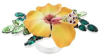 DSQUARED2 crystal-embellished flower ring