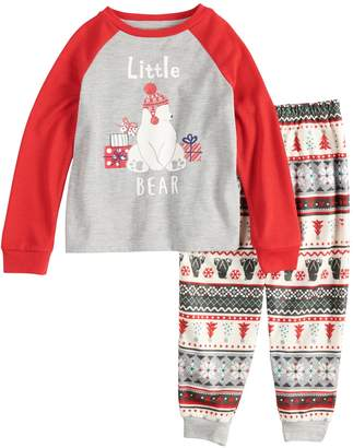 "Cuddl Duds Toddler Jammies For Your Families Polar Bear Fairisle Family Pajamas ""Little Bear"" Top & Bottoms Set"