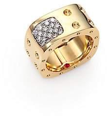 Roberto Coin Women's Pois Moi Diamond & 18K Yellow Gold Two-Row Square Ring