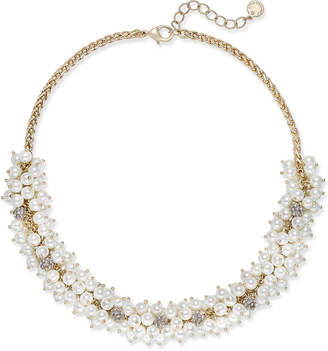 Charter Club Gold-Tone Pave & Imitation Pearl Collar Necklace, Created for Macy's