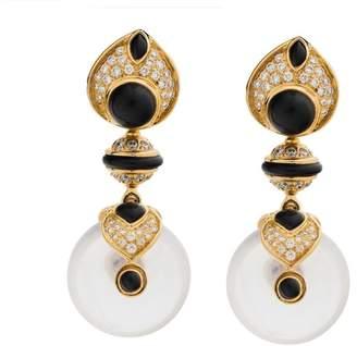 Marina B 18k Yellow Gold with Diamond & Onyx Earrings