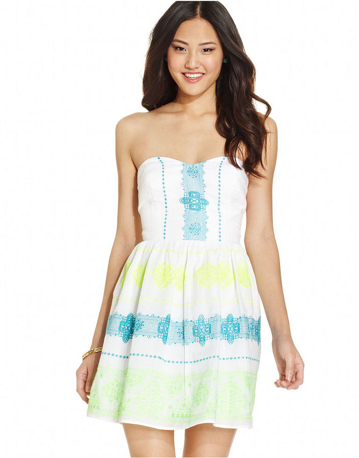 Trixxi Juniors' Strapless Embroidered Dress