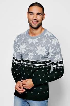 boohoo Christmas Colour Block Fairisle Jumper