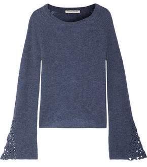 Autumn Cashmere Crochet-Trimmed Cashmere Sweater