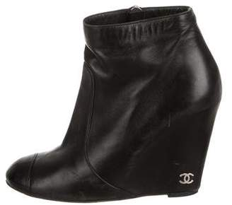 Chanel Cap-Toe Wedge Ankle Boots